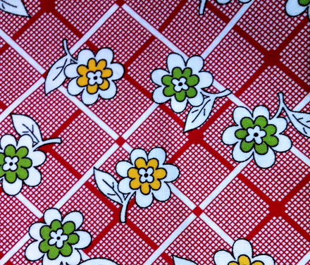 red floral fabric