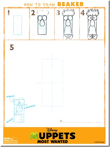 how-to-draw Beaker printable from Disney | www.anyhappylittlethoughts.com