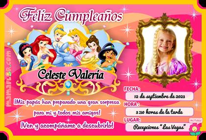 Tarjeta de Cumpleaños de Las Princesas Disney, lindo diseño para Imprimir en casa