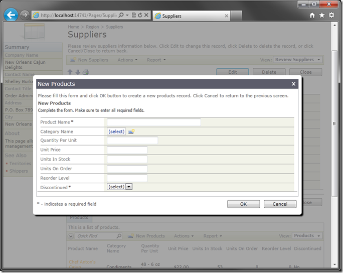 Default 'createForm1' in modal window on Suppliers page of web application created with Code On Time