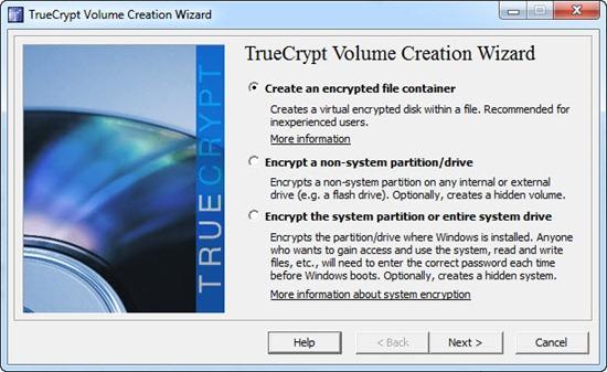 Memilih metode enkripsi di program TrueCrypt