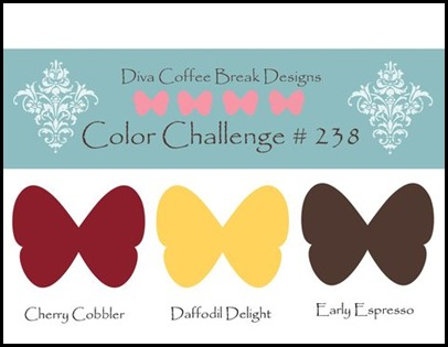 DCBD238, Sharon_Field, Createdbyu_Blogspot, Lean On Me, Diva Coffee Break Designs, Color Challenge, Embossing, Herringbone, picassa, photobucket, splitcoast_stampers