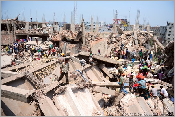The aftermath of the Rana Plaza collpase. Take a stand! Share this post and CLICK to visit the Worker Rights Consortium site to get more information.