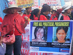 Women protesters marched from Southern Tagalog.(Photo by Anne Marxze Umil)