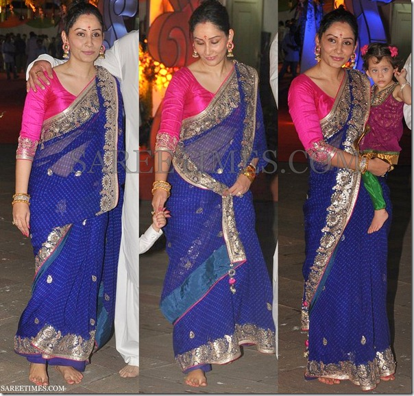 Manyata_Dutt_Blue_Saree