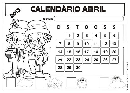 calendário abril 2013 paisagem patati patata