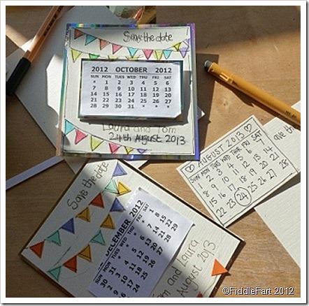 Save the date wedding calendar card