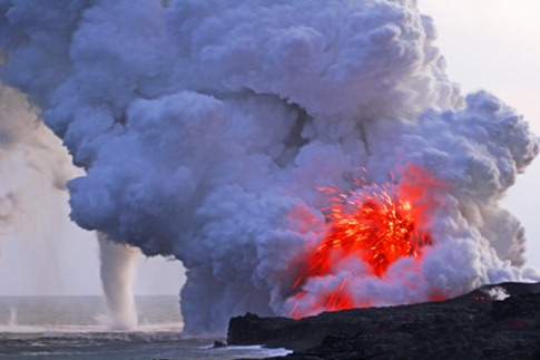 197.OMEARA massive lava fountain, volcanic cyclone and steam v cloud