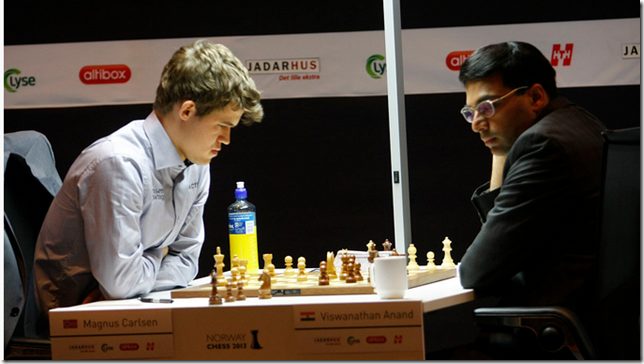 Carlsen vs Anand, Round 2, Norway Chess 2013