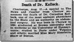 Death of Dr. Kollock