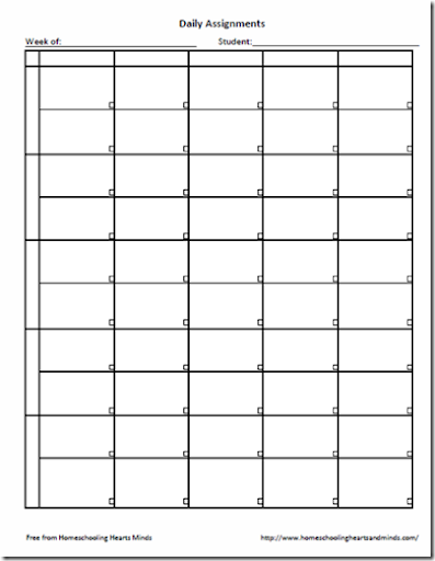 graphic about Printable Assignment Sheet called Homeschooling Hearts Minds: No cost Weekly Assignment Sheet