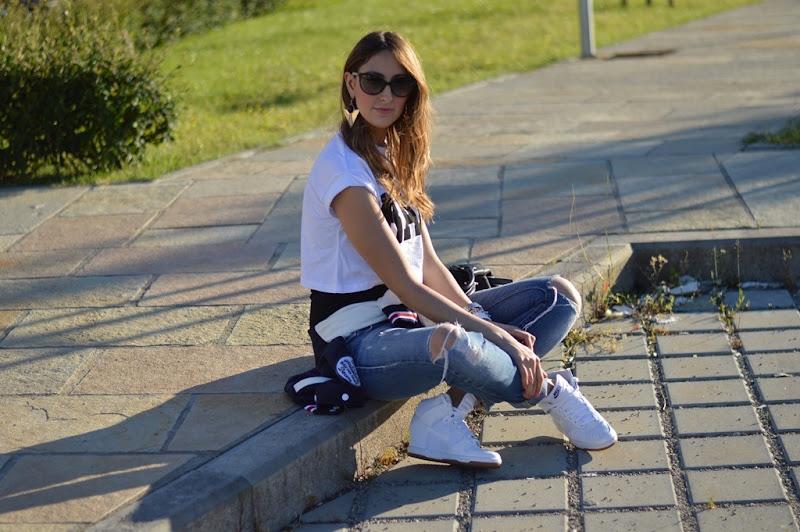 Primark t-shirt, varsity jacket, miss sixty jeans, dior zeli sunglasses, nike sneakers, nike dunk sky high, nike dunk sky high sneakers, givenchy bag, givenchy bugatti bag, fashion blogger, fashion blogger italiane, elisa taviti, my fantabulous world, dior zeli cat eye sunglasses