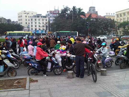 Scooters and bicycles in Haikou, China