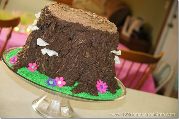 Tree stump tinker bell birthday cake idea
