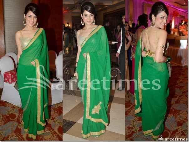 Green_Plain_Georgette_Saree