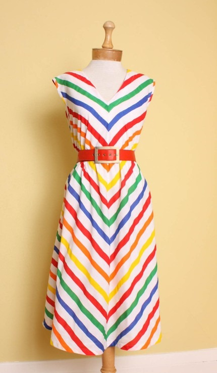 vintage-1970s-1980s-rainbow-chevron-stripe-trapeze-dress