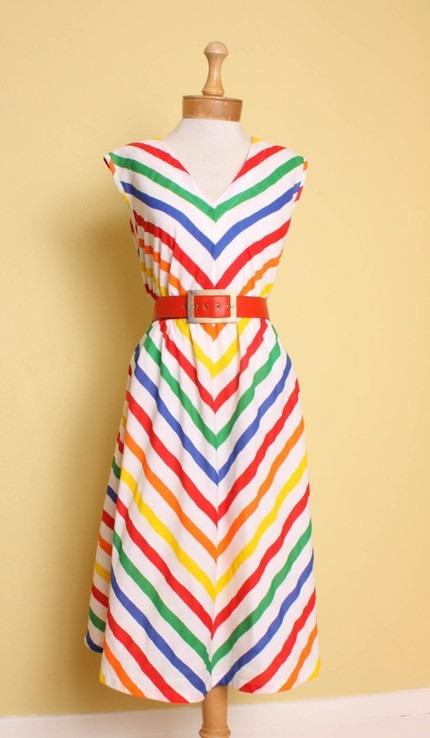 vintage-1970s-1980s-rainbow-chevron-stripe-trapeze-dress