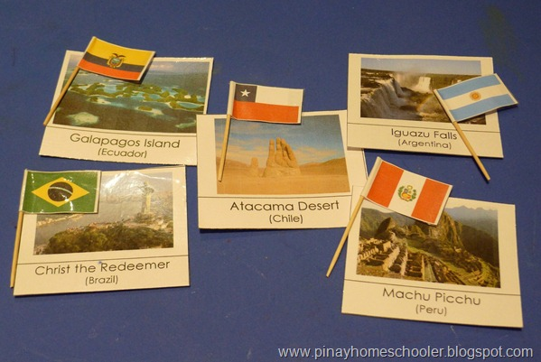 South America Landmarks and Flags Matching Activity