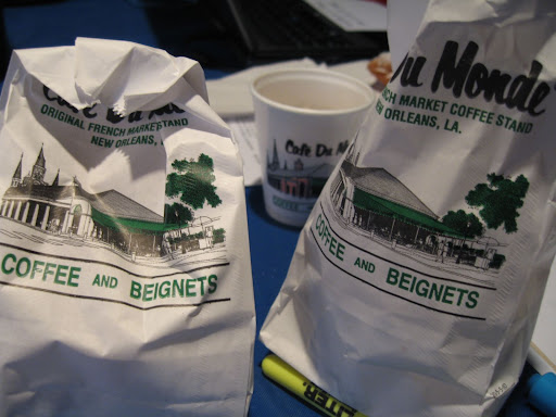 We were lucky enough to have Cafe Du Monde come to us!  With samples of their delicious chicory coffee and world-famous beignets.