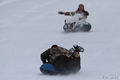 Chad and Rachael sledding