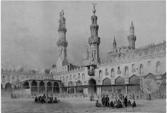 Al-Azhar mosque, main courtyard, 10th-18th centuries.Students congregate around columns, highlighting the mosque's function. Prisse's focus on the structure as one adjusted and renovated through various epochs provides insight into the evolution of Cairo and the position of theological, scholarly activity in the cityscape.