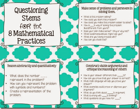 8 Mathematical Practices Questioning Stems