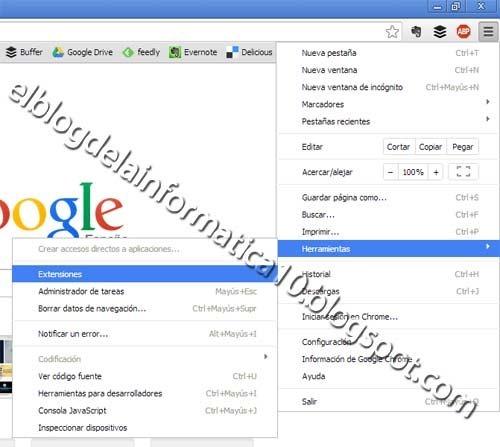 Opción Extensiones en Google Chrome