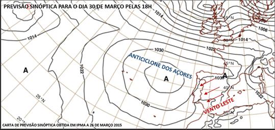 Anticiclone dos Açores a 30 de março de 2015