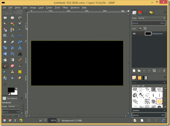 GIMP screenshot with a new 512 x 256 image