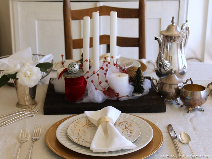 Red Velvet & White Tulle Holiday Tablescape via homework - carolynshomework (11)