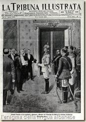 """Neuwied. L'offerta della corona d'Albania al Principe di Wied in una copertina della """"Tribuna Illustrata"""""""