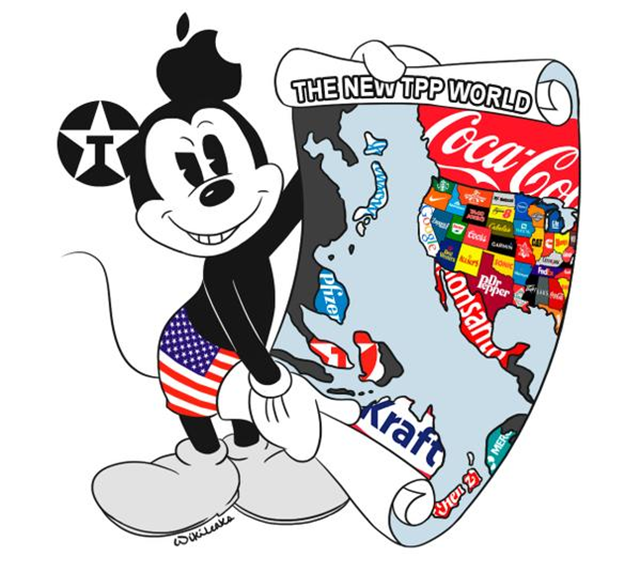 A cartoon, 'The New TPP World', depicts the corporate takeover of North America, Japan, Australia, and other nations by the secretive Trans-Pacific Partnership. Graphic: WikiLeaks