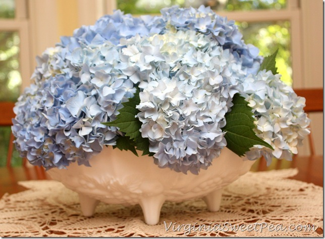 Hydrangeas in Milk Glass Bowl