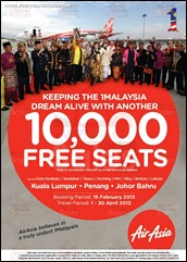 10,000 FREE SEATS with AirAsia February 2013 Promotion Branded Shopping Save Money EverydayOnSales