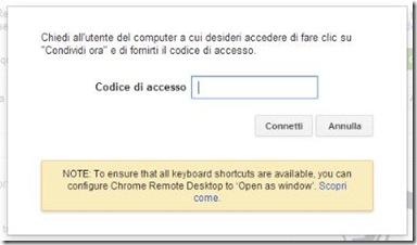 Chrome Remote Desktop inserire codice accesso per collegamento remoto