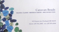 11.2011 Maine Caravan Beads Portland business card
