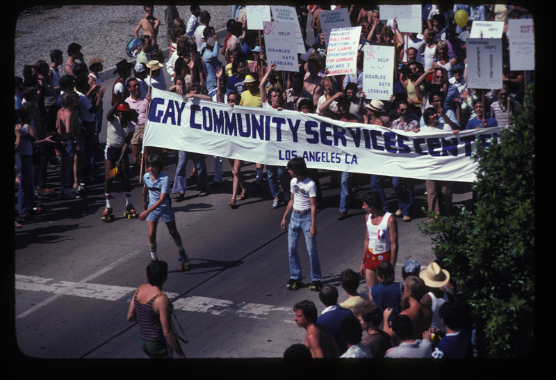 Gay Community Services Center at the Los Angeles Christopher Street West pride parade. 1979.