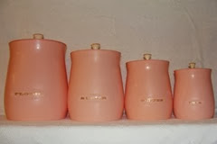 Flour, Sugar, Coffee, and Tea canister set in pink plastic by Plas-Tex Corp. in Los Angeles, CA