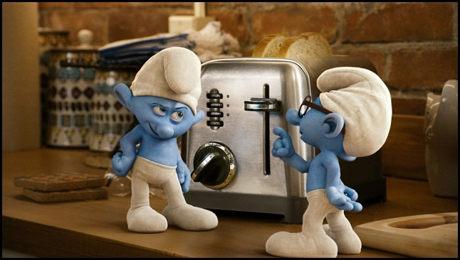 Grouchy and Brainy Smurfs in Columbia Pictures' THE SMURFS.