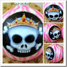Candy Stripe Skullz Ornament - Drama Queen