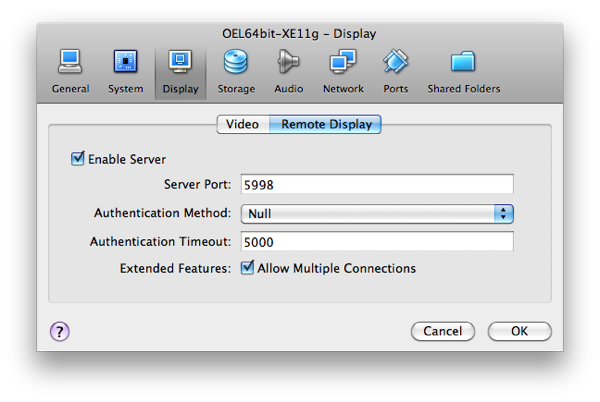 OEL64bit XE11g  Display