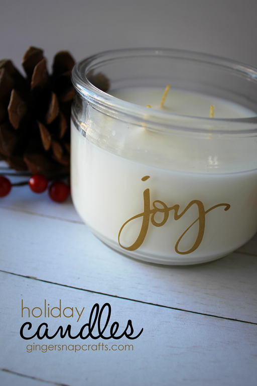 Holiday Candles at GingerSnapCrafts.com #DIY #easygiftidea #vinyl #happycrafters