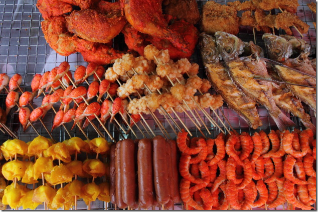 Seafood and Meat on display in the markets of Ko Phi Phi