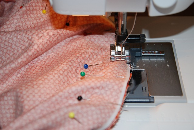 sewing over pins