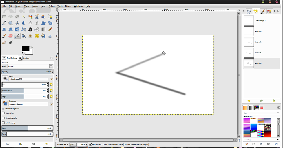 how to draw straight line in gimp