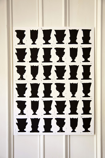 The repetition of urns here make quite an impact. 'Urns', silkscreen print by Wayne Pate.