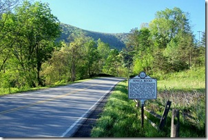 Seneca Rocks marker along Routes 28 and 33.