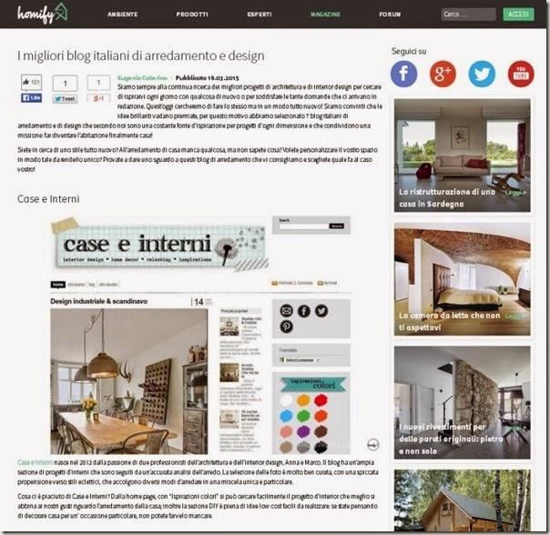 Case e interni tra i migliori blog secondo homify case e for Blog arredamento interni