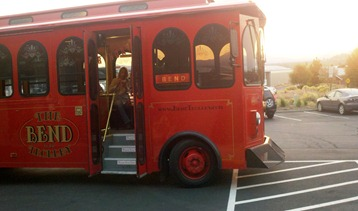 The Bend Trolley making a stop on the Brew and Bite tour