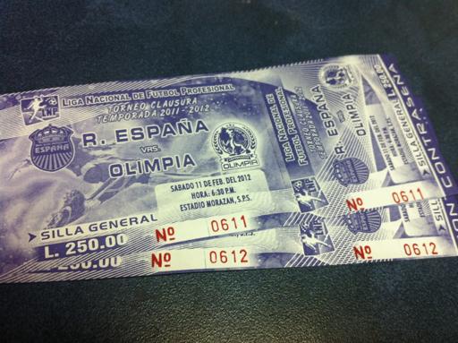 Boleto Real España vs Olimpia, Fecha 7 Clausura 2012